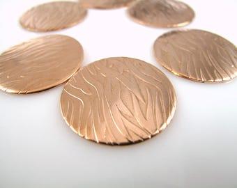 "Copper Discs, Enameling Discs, Textured Copper Discs, 1"" (25mm)  Premium Discs, Grass Discs, JAE-06"