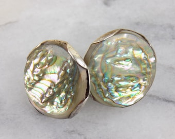 Vintage Earrings Abalone Sterling silver 925 Screw Back