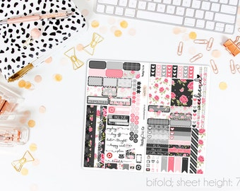 Midnight Rose TN STANDARD Weekly Kit // 120+ Matte Planner Stickers // Perfect for your Standard Size Traveler's Notebook // TNS0070