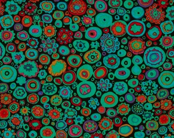 Free Spirit Kaffe Fassett Paperweight Jewel Green Red Orange Spot Circles GP20 JEWEL Fabric END of BOLT 31 inches