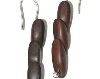 Sterling and wood earrings