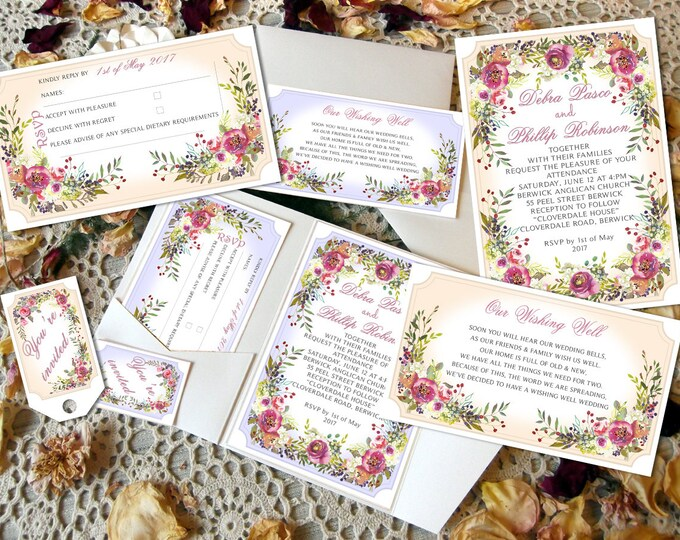30 x Printed Wedding Invitation sets, Pocket Folds, RSVP, Wishing Well Cards, Matching Envelopes.  EVERYTHING! Wedding Invitation Templates