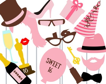 Print Yourself Sweet Sixteen Photo Booth Party Props