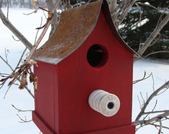 Rustic Red Birdhouse Outdoor Bird House Functional Birdhouses Farmhouse Cottage