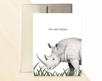You Are Strong Greeting Card, Rhino Greeting Card