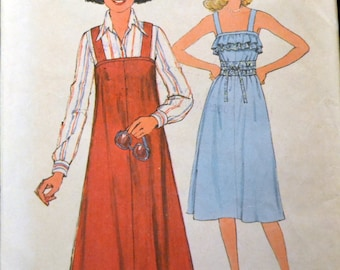 Vintage 70s Sewing Pattern Simplicity 8073 Misses' Jumper or Sundress  Size 10 Bust 32 Inches Complete