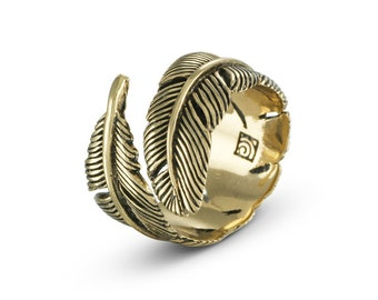 Feather Ring - Bronze Feather Ring - Feather Bypass Ring