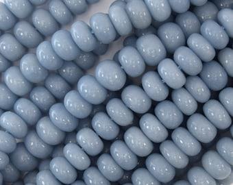 "9mm - 9.5mm blue angelite rondelle beads 15.5"" strand 40529"