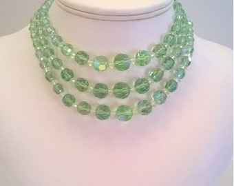 Green Crystal Choker - Vintage Three Strand Light Green Choker Necklace with Bead Extender