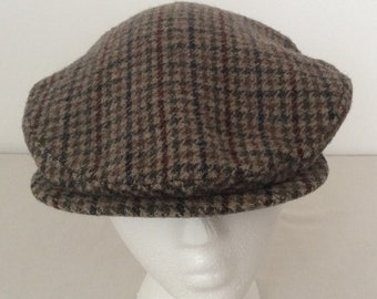 Pendleton 100% Wool Houndstooth Tweed Newsboy Cabbie Hat Size Medium