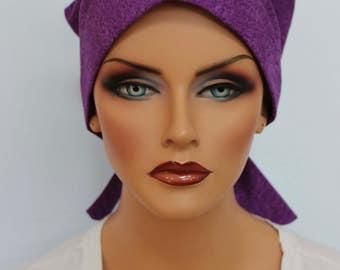Sandra Scarf, A Women's Surgical Scrub Cap, Cancer Headwear, Chemo Head Scarf, Alopecia Hat, Head Wrap, Head Cover, Hair Loss.  Purple Batik