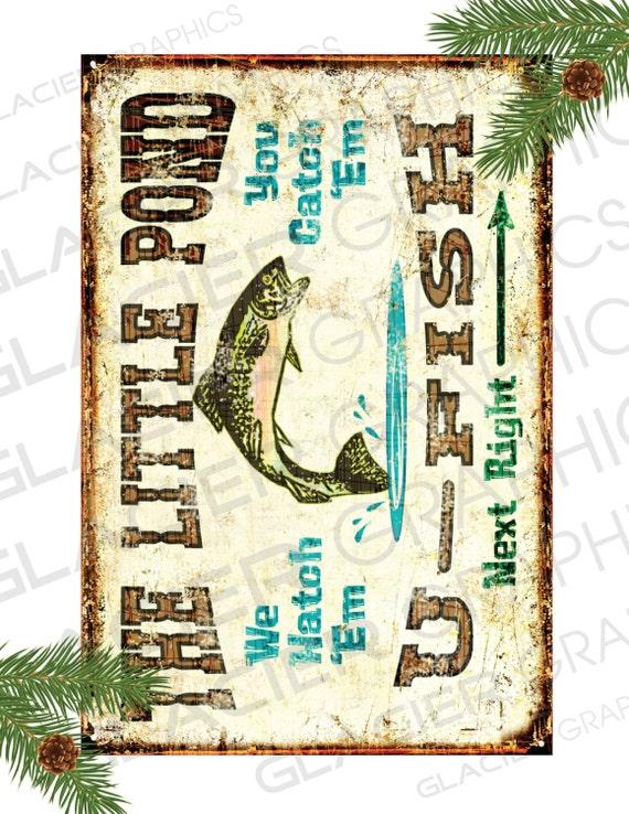 Fishing Primitive Sign Vintage U Fish Country Labels Digital