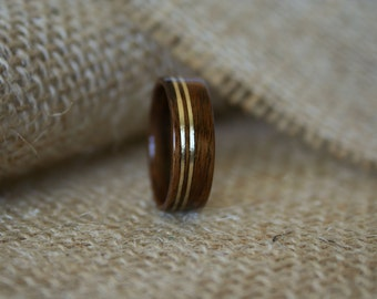 Men's Wooden Wedding Band with Double Brass Inlay in Santos Rosewood-Hand Crafted Wooden Ring