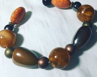Chunky wire wrap bracelet earthtones