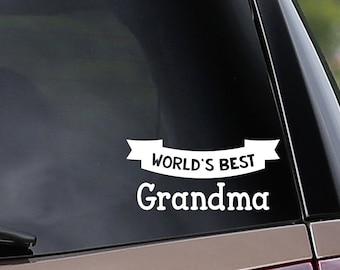 World's Best Grandma & Grandpa Vinyl Car Decal - Customize to any name! Nana - Papa - Car Window Decal - Laptop Decal - Bumper Sticker