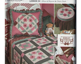 Rose of Sharon & Churn Dash Quilt Block Club Lesson #4  / Original Simplicity Crafts Uncut Sewing Pattern 9312