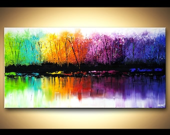 Abstract Contemporary Landscape Acrylic Painting Heavy Palette Knife Colorful Acrylic Texture by Osnat - MADE-TO-ORDER