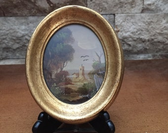 Vintage Mini Oil Painting Under Glass Made In Italy