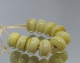 Ripe Banana, Lampwork Spacer Beads, SRA, UK