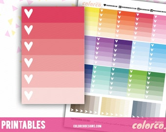 HAPPY PLANNER ombre checklist Printable Planner Stickers Erin Condren ECLP Happy Planner Instant Digital Download