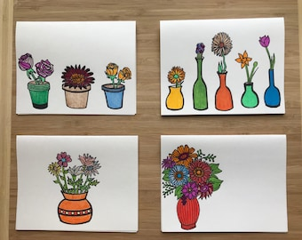 Four Handmade Floral Cards