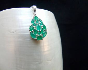 Brazilian Emerald Sterling Silver Necklace Pendant