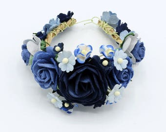 Blue  mulberry paper flower wrist corsage bridal accessories flower bridesmaids flower bracelet