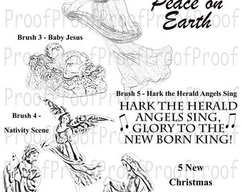 Christmas Photoshop Brushes 2 Instant Digital Download