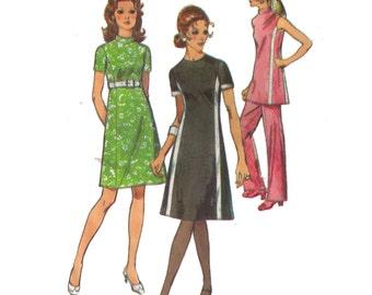 "Simplicity 9206, 70s sewing pattern, size 12 bust 34"" waist 25"" women's dress pattern, mini dress, elastic waist pants"