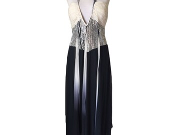 Stunning Black and White Strapless Halter Neck Formal Gown Dress with Gore Skirt and Sequin Bodice and Low Neckline