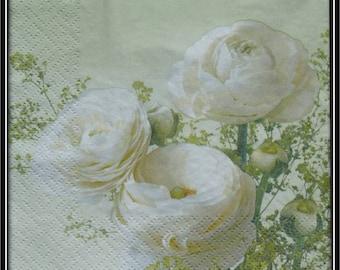paper flower, white Ranunculus towel