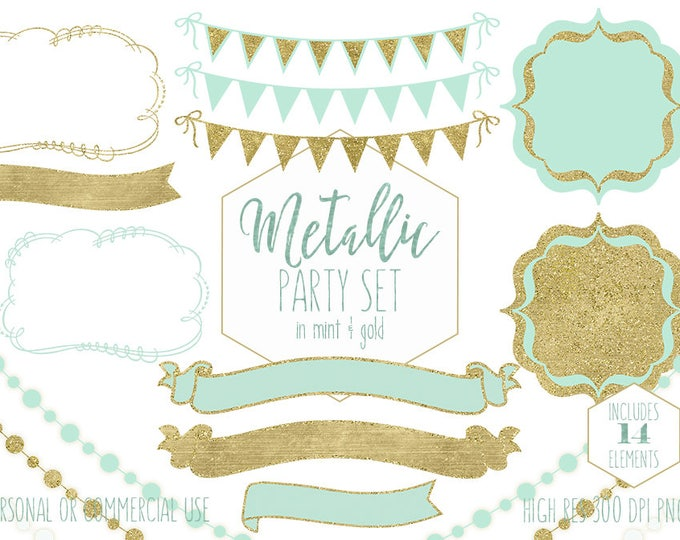 MINT & GOLD PARTY Clipart for Commercial Use Clip Art Metallic Gold Bunting Banners Frames Fairy Lights Planner Clipart Digital Graphics