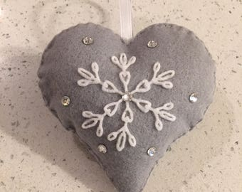 Felt Christmas Ornament Gray Heart with White Snow Flake Clear Swaroski Crystals Decoration Shatter Proof Holiday Tree Gift Keepsake