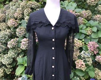 Black Lace Formal Dress // 6 // medium // Sheer long Sleeves // 90's // 80's // Party dress // NYE Dress //