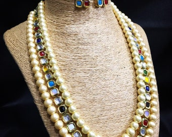 NAVRATAN KUNDAN NECKLACE | Kundan Necklace Set W Earrings,Indian Jewelry,Bridal Jewelry, Bollywood,Ethnic,Statement Necklace,Polki Necklace