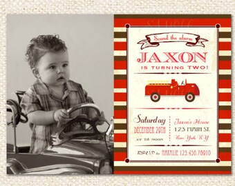 Fireman Fire Truck Birthday Invitations
