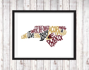 Elon University | Printable Art | College Student Gift | College Graduation | Dorm Room Decor | Wall Art | Wall Decor