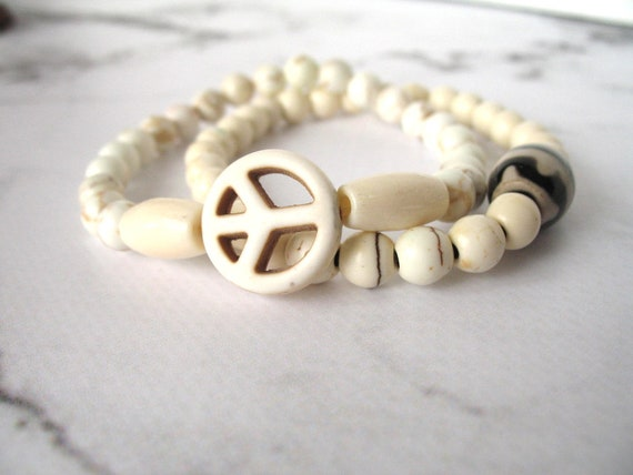 Boho Bracelet in Natural Howlite Stone with Peace Sign, Mala Bracelet, Stackable Bracelet, Peace Bracelet, Hippie Bracelet, Women's Gift