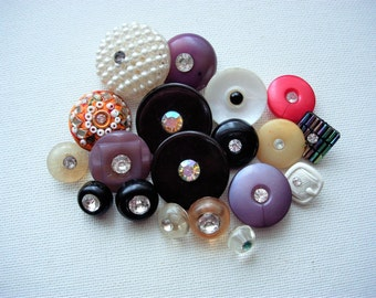 Pretty Lot of Various Vintage Paste Rhinestone Plastic Buttons