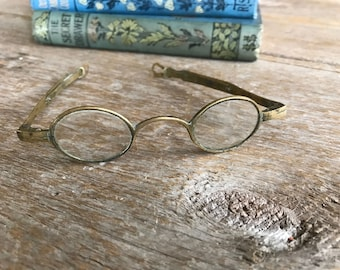 Antique Wire Rim Eyeglasses, Rare Early 1800s Spectacles, Metal Frame Eyewear Props, Reading Glasses