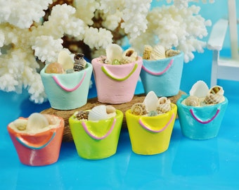 Beach Bag of Shells  ~ Terrarium Accessory ~ Dollhouse Miniature ~ Color Choices at Checkout ~ Beach Buckets also available with Shells