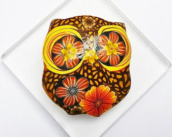 Brooch owl brown orange in polymer clay