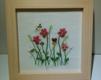 Handmade Flower Embroidery in Wall Hung Wooden Frame
