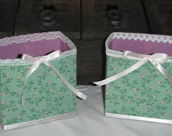 Duo shabby fabric boxes liberty pattern small roses