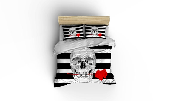 Rockabilly Skull and Rose Bedding by BigWaveClothingCo
