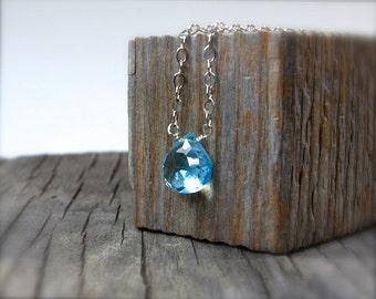 Swiss blue topaz briolette necklace. Blue topaz pendant on sterling silver chain.  Delicate dainty teardrop blue gemstone necklace.