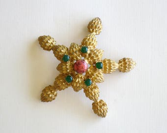 60s goldtone and faux coral starfish brooch