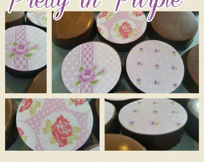 24 shabby Chic garden tea party people floral image chocolate covered oreos or chocolate lollipops