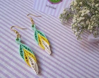 Yellow and green paper filigree Earrings Dreamcatcher