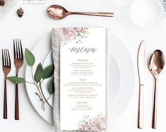 White Rose & Gold - Menu Cards (Style 13806)